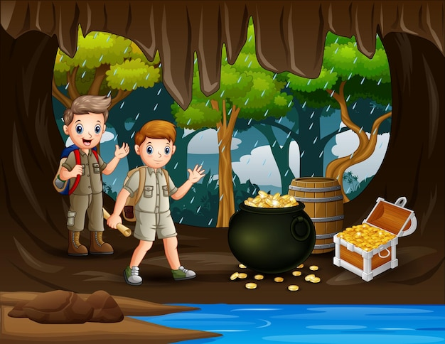 Two scout boys in the treasure cave illustration