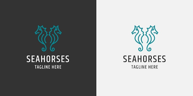 Two seahorse line logo. flat style
