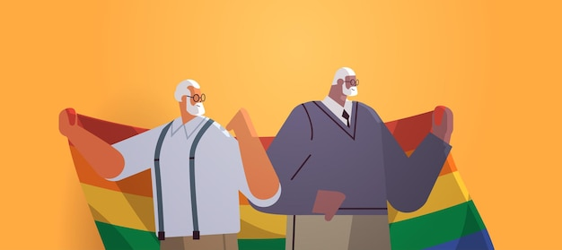 Lgbtレインボーフラッグゲイレズビアン愛パレードプライドフェスティバルトランスジェンダー愛の概念を保持している2人の年配の男性
