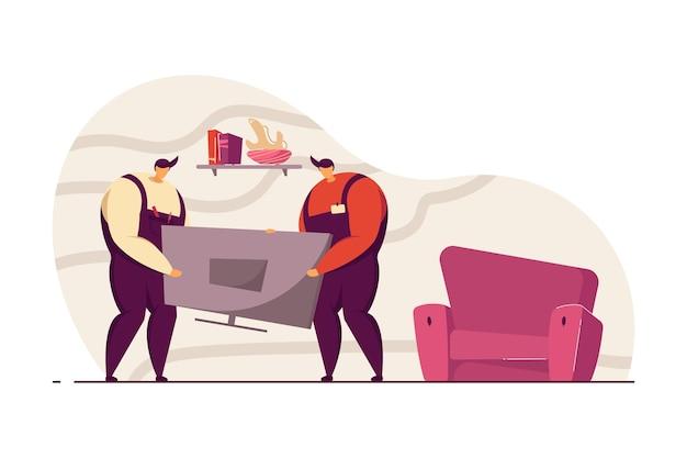 두 명의 서비스맨이 클라이언트 집에 새 tv 세트를 설치하고 있습니다. 전문 노동자, 재주꾼 평면 벡터 일러스트 레이 션. 배너, 웹 사이트 디자인 또는 방문 웹 페이지에 대한 서비스 및 유지 관리 개념
