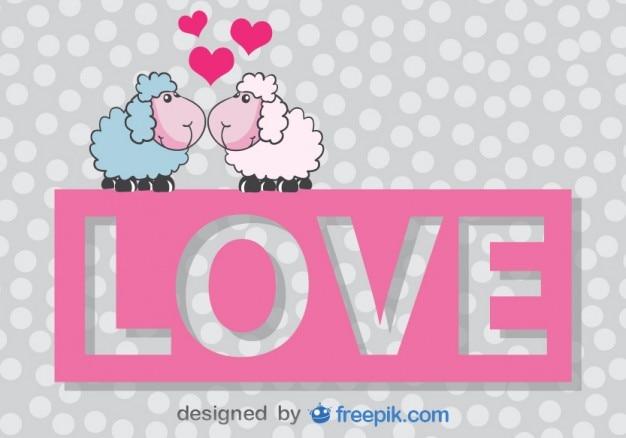 Carta di pecore cartoon baciare vettore di san valentino