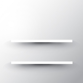 Two shelves on a white wall background