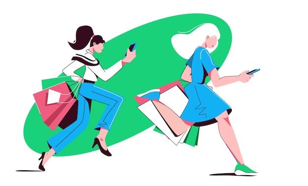 두 명의 쇼핑 여성이 가방을 들고 뛰어다니며 전화 판매 개념을 들여다본다