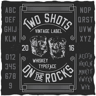 Two shots poster with words about whiskey typeface with simple label design illustration