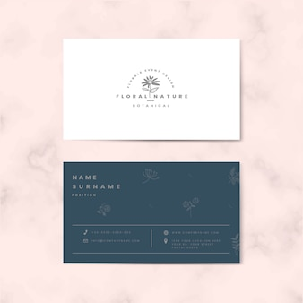 Two sided floral name card vector
