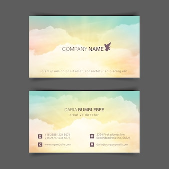 Two-sided horizontal business cards with realistic turquoise-yellow sky