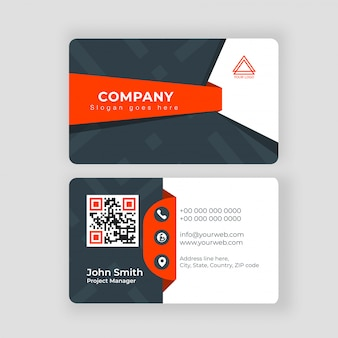 Two sided presentation of professional business or visiting card