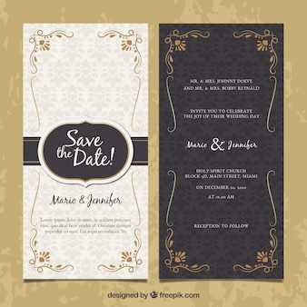 Two-sided wedding invitation in vintage style