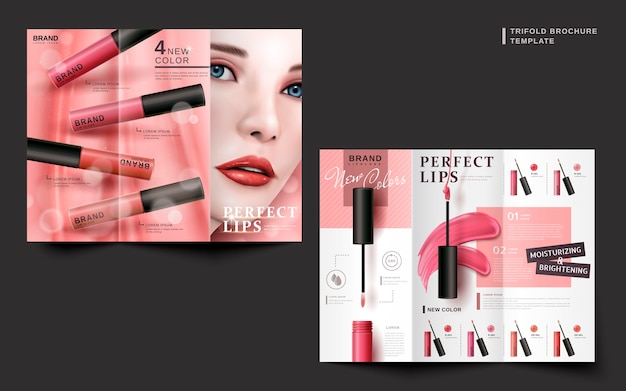 Two sides of a cosmetic trifold brochure for commercial uses