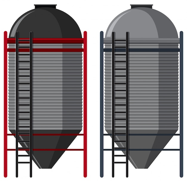 Two silo with ladders