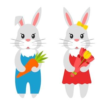 2つのシンプルなかわいいウサギ。かわいいキャラクター、にんじんと花束を持ったウサギ。白い背景で隔離。