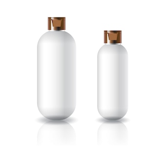 Two sizes of white oval round cosmetic bottle with copper cap lid.