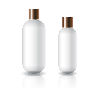 Two sizes of white oval round cosmetic bottle with copper plain screw lid.