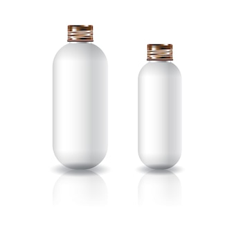 Two sizes of white oval round cosmetic bottle with copper screw lid.