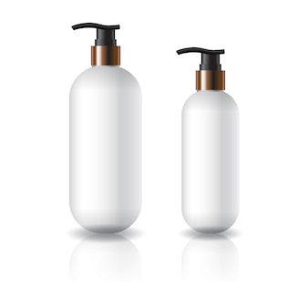 Two sizes of white oval round cosmetic bottle with pump head.