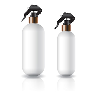 Two sizes of white oval round cosmetic bottle with spray head.