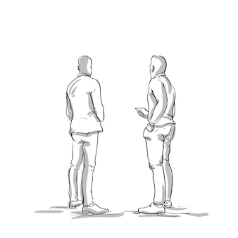 Two sketch business men talking back rear view of businessmen discussing plan