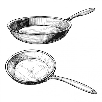 Two skillets isolated on white background.