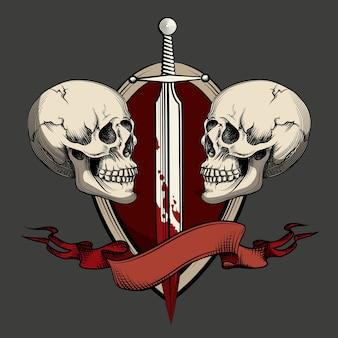 剣とリボンの2つの頭蓋骨。タトゥーとラベルのテンプレート。