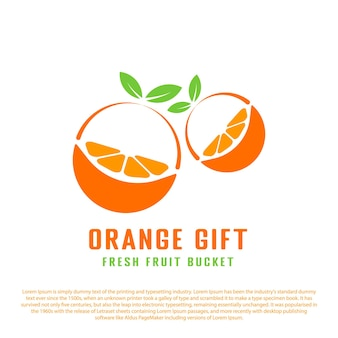 Two slices of orange in the form of a gift orange fruit logo for fruit store or others