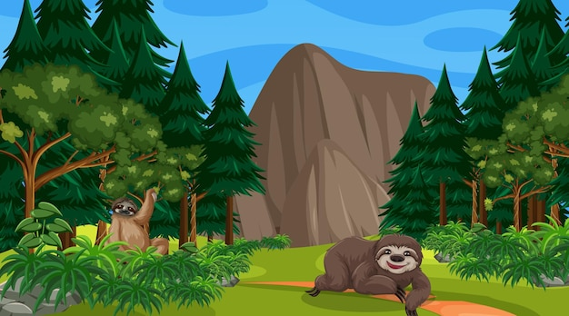 Two sloths in forest at daytime scene with many trees
