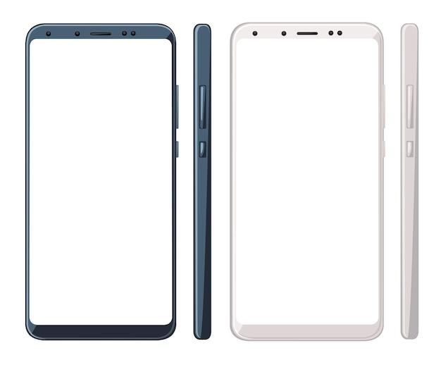 空白の画面の図と2つのスマートフォン