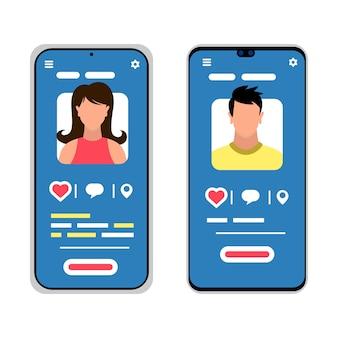 남성과 여성의 실루엣 두 스마트 폰입니다. 소셜 미디어, 모바일 메신저, 데이트, 회의, 커뮤니케이션, 학습용 애플리케이션. 흰색 바탕에 만화 아이콘입니다.