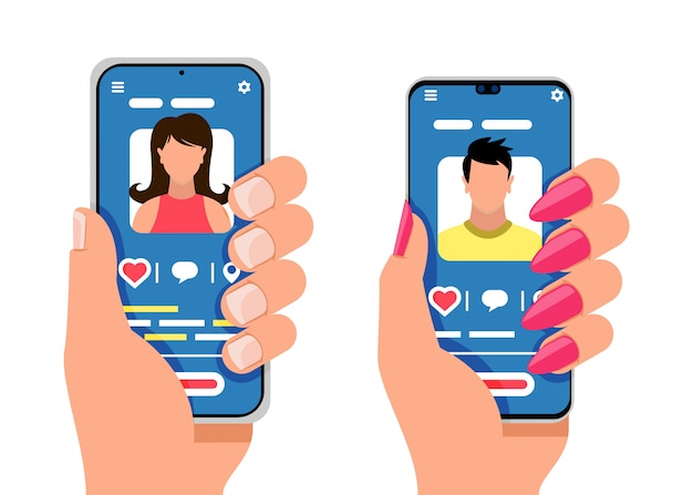 Two smartphones with male and female silhouettes. social media, mobile messenger concept.