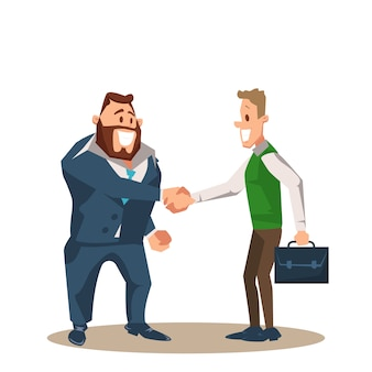 Two smiling business man character shake hand
