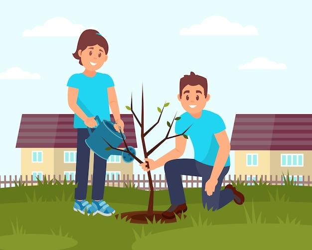 木を植える笑顔のボランティア2人。小さな木製のフェンスと家。フラットなデザイン