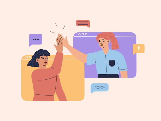 Two smiling young girls have online video conference at computer screen, chatting with friends or colleagues, happy woman giving high five and have conversation,  illustration in flat cartoon