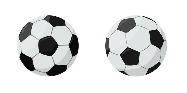 Два футбольных белых и черных мяча, изолированные на белом фоне