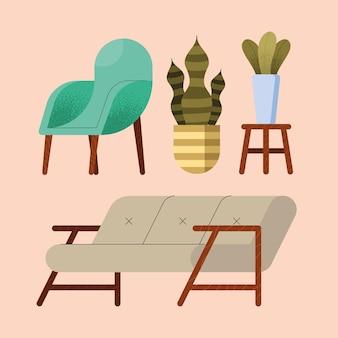 Two sofas and houseplants set icons