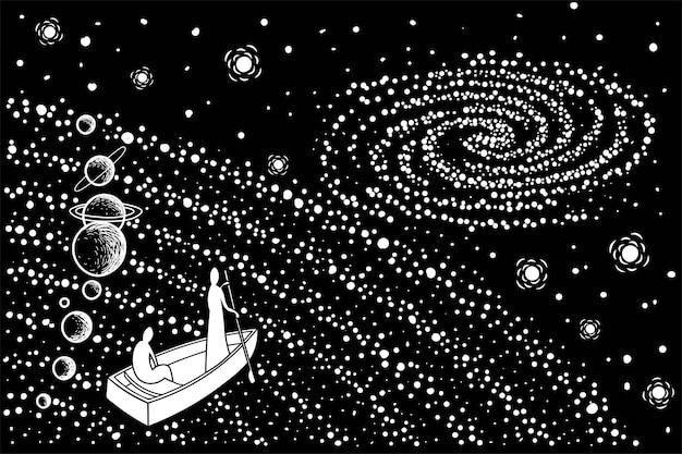 보트에 있는 두 영혼은 우주를 통해 다른 은하계로 이동합니다. 벡터 그림입니다.