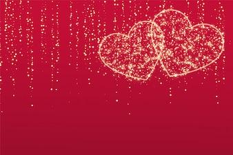 赤の背景に2つの輝きの愛の心