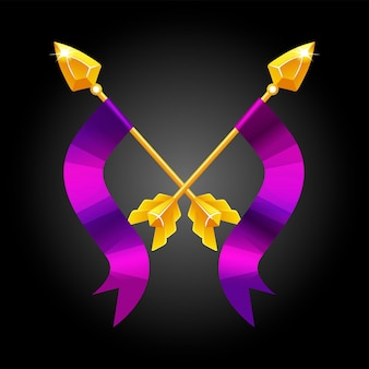 Two spears crossed with a violet flag for game. gold vintage vector spears for fighting.