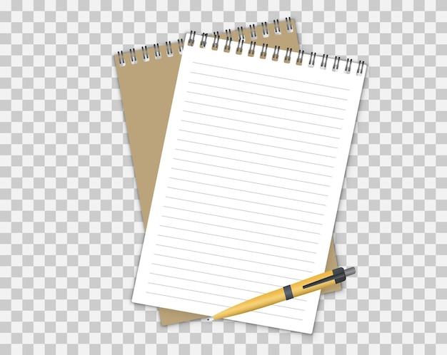 2つのスパイラルノートとボールペン。ノートブックのベクターモックアップ。画像、テキスト、またはコーポレートアイデンティティの詳細を保存できます。ベクトルイラスト