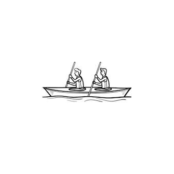 カヌーの手描きのアウトライン落書きアイコンで漕ぐ2人のスポーツマン。ウォータースポーツ、ボート、カヤックのコンセプト