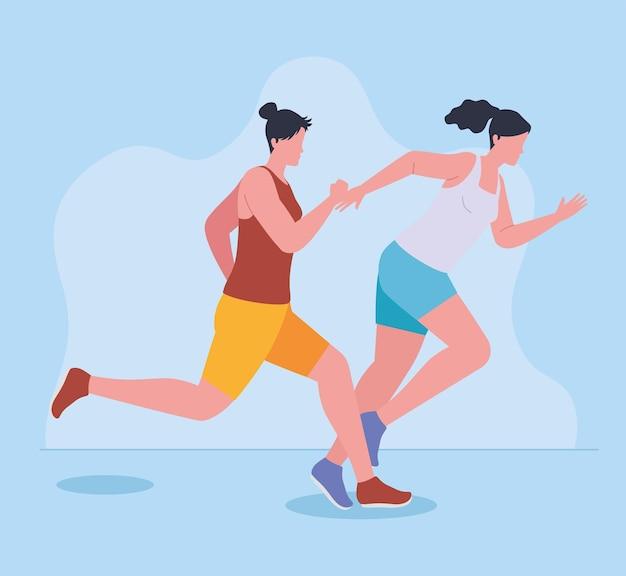 Two sportswomen running in marathon
