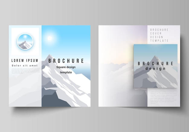 Two square format covers design templates for brochure flyer magazine