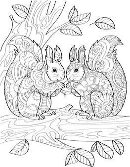 Две белки стоят, держа желудь на верхней ветке дерева с листвой, рисованной бурундуками