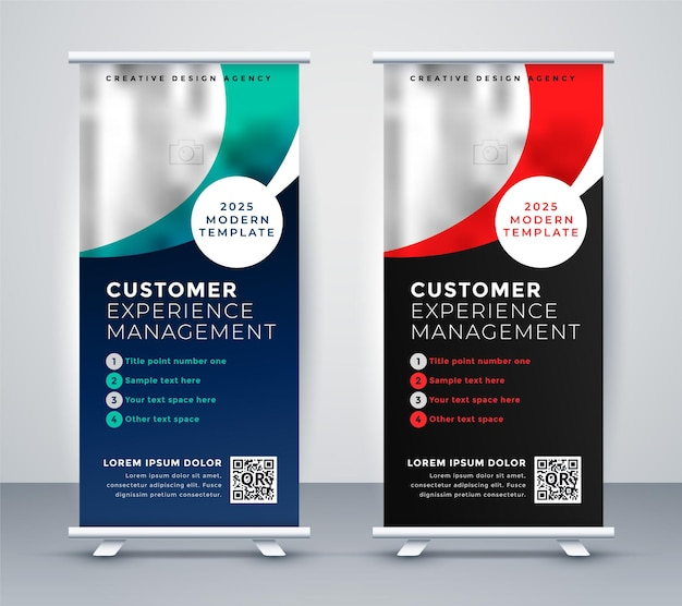 Two standee roll up banner presentation template