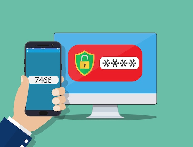 Two step authentication on smartphone cellphone and computer safety login or signin, two steps verification via mobile phone and pc clipart. vector illustration in flat style