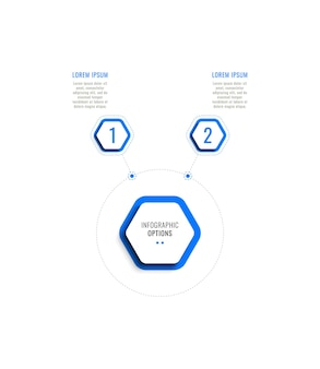Two steps horizontal infographic template with blue hexagonal elements on a white background