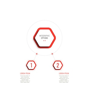 Two steps horizontal infographic template with red hexagonal elements on a white background