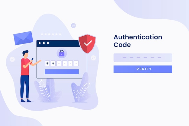 Two steps verification illustration flat design. illustration