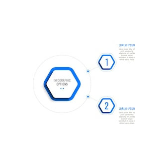 Two steps vertical infographic template with blue hexagonal elements on a white background