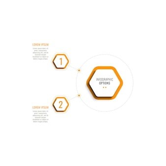 Two steps vertical infographic template with orange hexagonal elements on a white background