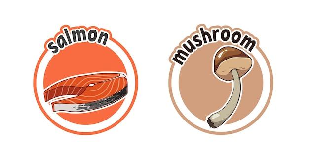 Две наклейки с рыбой и грибами. векторные иллюстрации шаржа, изолированные на белом фоне.