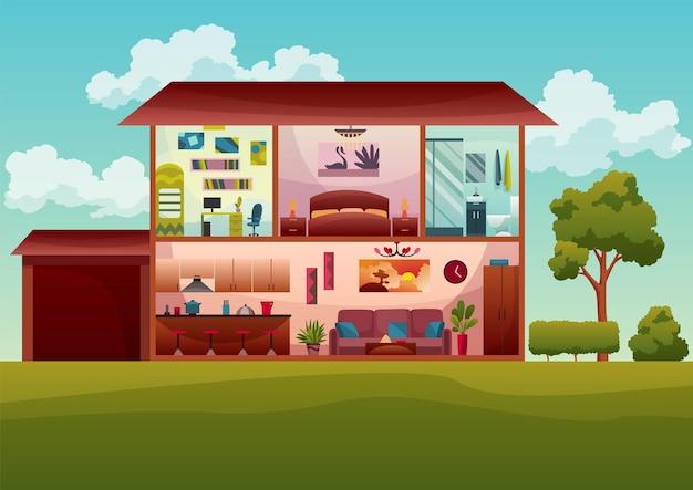 2층짜리 코티지 하우스 단면 내부입니다. 1층에 거실과 주방이 있는 현대적인 코티지, 위층에 욕실, 다락방 어린이 방. 외부에 푸른 나무가 있는 부동산 개념